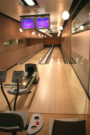 screen: high tech bowling alley Stock Photo