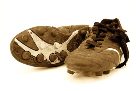 soccer cleats: cleats in sepia