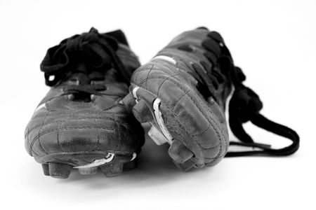sportsperson: cleats in black and white