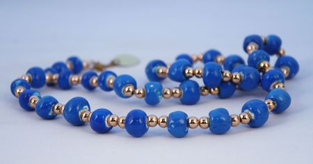 beaded: blue beaded necklace