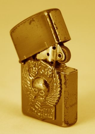 antique lighter in sepia