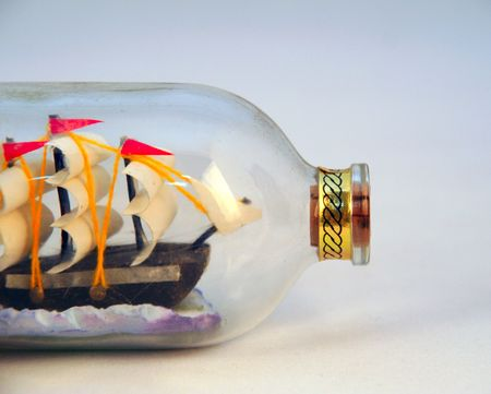 intricate ship in a bottle