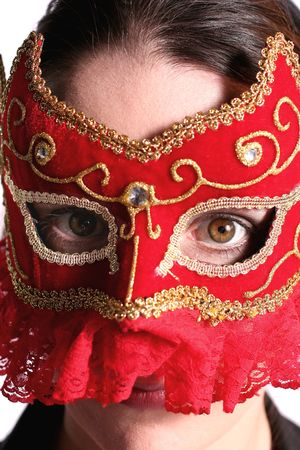 fancy red and gold studded mardi gras mask with beaming eyes 2