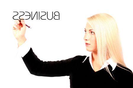 Belle femme d'affaires de blonde tenant le stylo devant son écriture Banque d'images - 815373