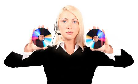 Young beautiful woman holding two cds