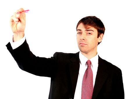 contractual: business plan - man with pen over a white background writing something on the screen
