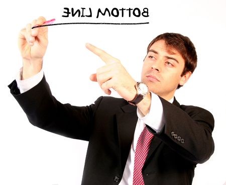 business man with pen over a white background writing the bottom line on the screen Zdjęcie Seryjne