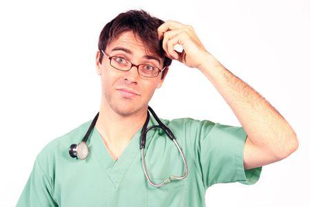 Docteur rayant la tête dans la confusion Banque d'images - 815515