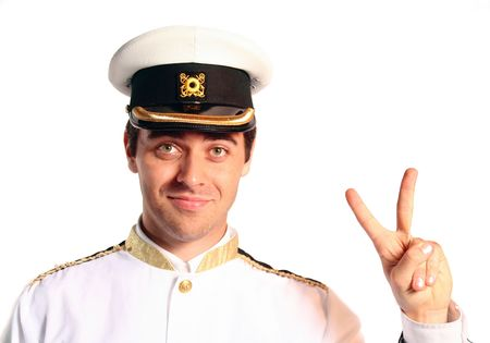 chirpy: man in military sailer field uniform with hat saluting