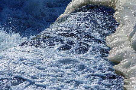 rushing water: snow scene with rushing water splashing