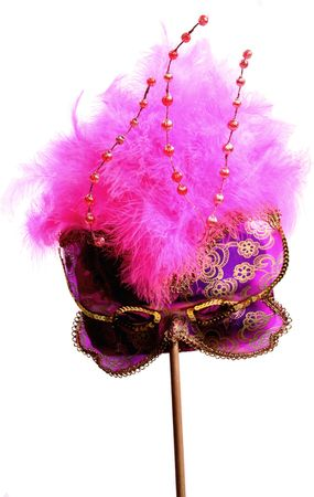 red fuzzy party mask with beads and a pole