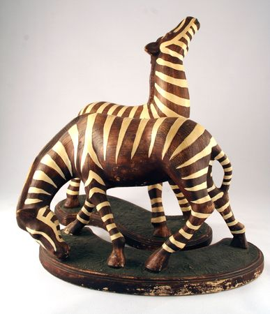 figurines: antique vintage African zebra figurines