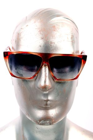silver mannequin with sunglasses on