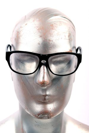 silvery: silver mannequin with sunglasses on