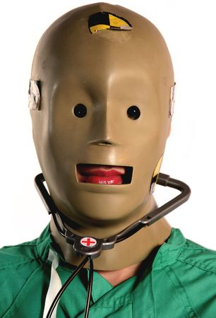 weird crash test dummy medical worker in medicine with scrubs and stethoscope on and red lips  스톡 콘텐츠