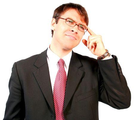 pensamiento estrategico: joven atractivo fuerte y poderoso hombre de negocios de pensar y resolviendo problemas de un problema para encontrar la soluci�n estrat�gica