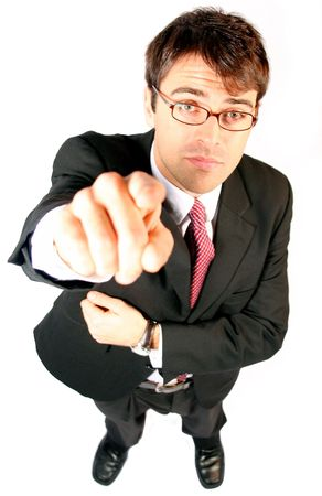 end user: business man pointing his finger at you as the consumer to be sold to an idea or product or partnership