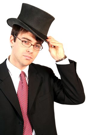 ventures: business man lifting his top hat in salutation and welcome of ventures and investments Stock Photo