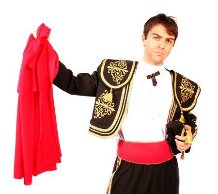 Matador avec sa cape rouge et courageux prêts à affronter le taureau et le taureau, le héros de la plume Banque d'images - 1125992