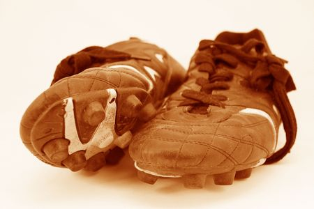 old soccer or football sport boots or sports cleats Stock Photo - 1006476