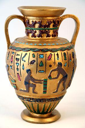 bureta: Anticuarios �rabe o egipcio Antiguo Jarr�n de oro con inscripciones en hologr�fica que  Foto de archivo