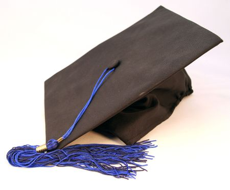 credentials: graduation ceremony gown cap or hat with blue tassel