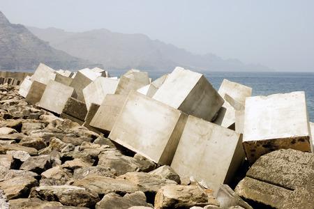 breakwaters: Breakwaters in the harbor of Agaete (Grand Canary)