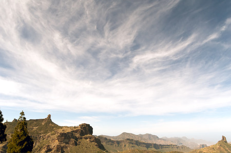 grand canary: A panoramic view of the south wet basin of Grand Canary island, with Bentayga (top right), Nublo (left) and Monk (top left) rocks Stock Photo