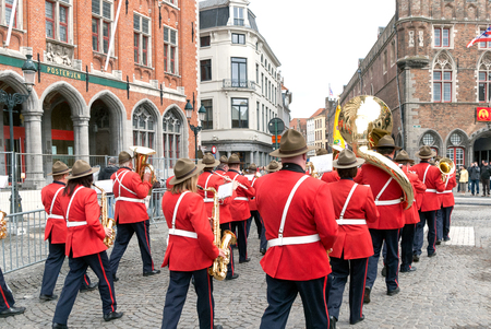 brass  band: A shot of a street brass band in Bruges