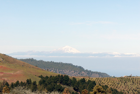 grand canary: A shot of a snowy Teide volcano from Grand Canary island