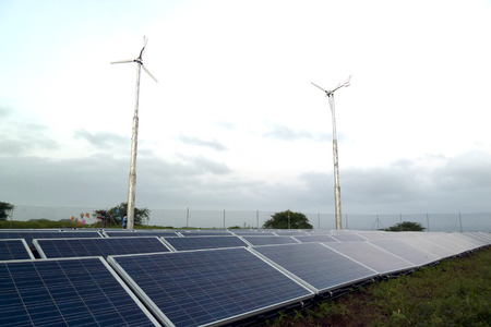 santiago cape verde: A shot of solar panels and windmills in a social project in Vale da Custa, Santiago, Cape Verde