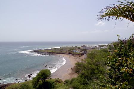 santiago cape verde: A shot of a beach in Praia, Santiago, Cape Verde Stock Photo