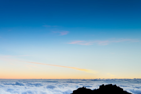 grand canary: A shot of a sea of clouds in the highlands of Grand Canary island Stock Photo