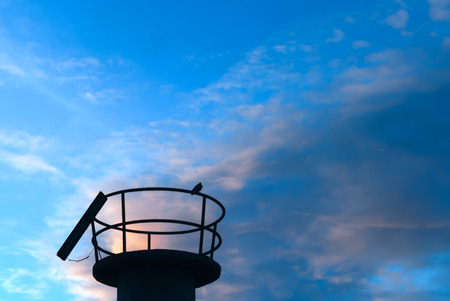 grand canary: A shot of a bird on a watchtower in the dock of San Crist�bal, Grand Canary