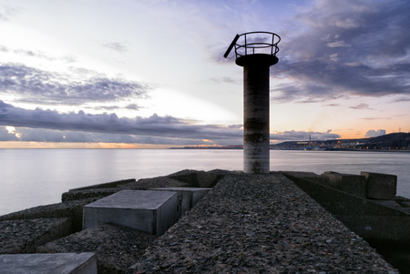 grand canary: A shot of a watchtower in the dock of San Crist�bal, Grand Canary Stock Photo