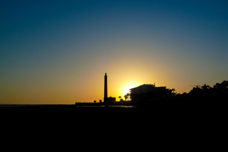 grand canary: The Maspalomas lighthouse at sunset in Grand Canary island