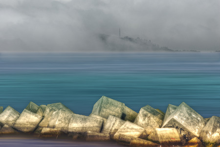 breakers: A composition with breakers in a dreamy landscape Stock Photo
