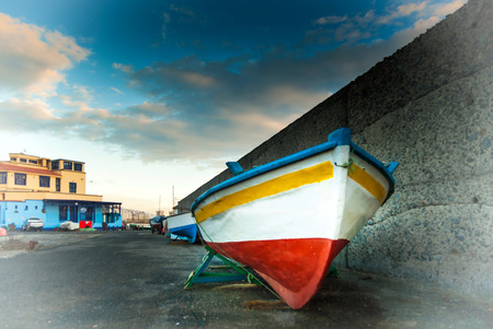 rowboats: A shot of many rowboats in the dock of San Crist�bal, Grand Canary Stock Photo