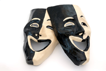 white mask: An isolated shot of masks with an expression of happiness