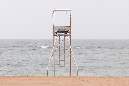 watchman: A shot of a lifeguard post in a beach Stock Photo