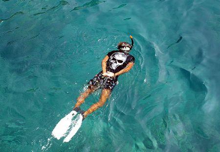 chang: Snorkeling man, archipelago of Ko Chang, Thai gulf