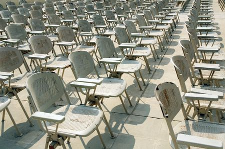 lecture theatre: Rows of chairs background Stock Photo