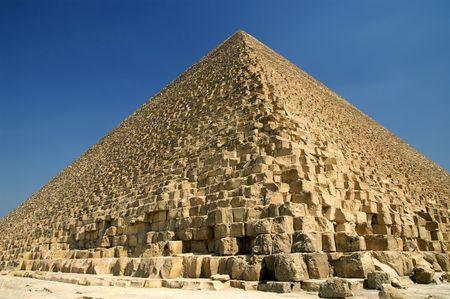 giza: Wide angle view of Great Pyramid of Giza (pharaoh Khufu pyramid), Egypt