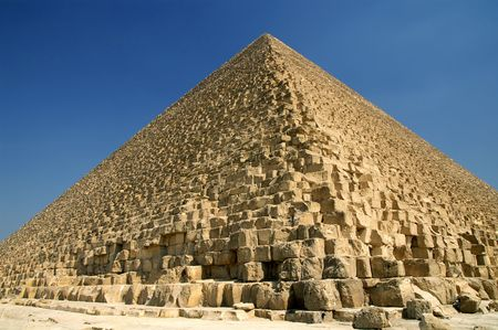 Wide angle view of Great Pyramid of Giza (pharaoh Khufu pyramid), Egypt