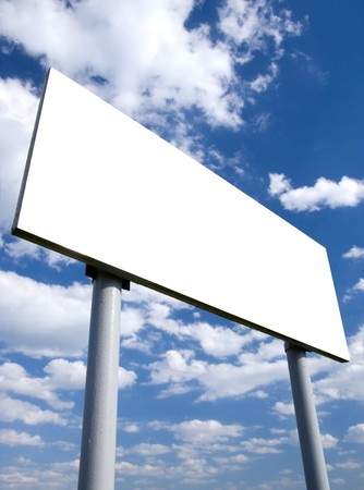 posting: Blank white billboard and cloudy sky