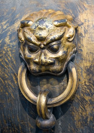 Lion head decorative handle of Chinese ancient bronze urn, Forbidden City, Beijing, China Stock Photo - 4322246