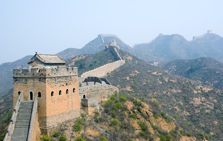 heritage protection: Tower of famous Great Wall in the Simatai near Beijing, China Stock Photo
