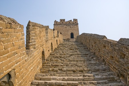 near: Tower and footsteps of famous Great Wall in the Simatai near Beijing, China
