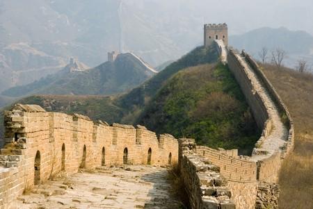 fortified wall: Famous great wall at Simatai near Beijing, China Stock Photo