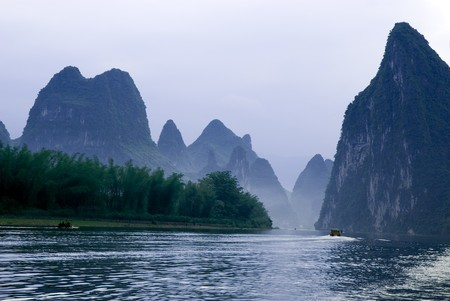 Famous karst mountains at Li river near Yangshuo, Guanxi province, China